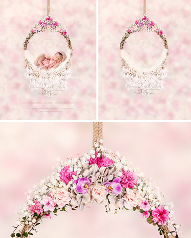 Newborn hanging circle design with flower and feather 2 - Digital photography backdrop /props for newborn photography - psd with layers