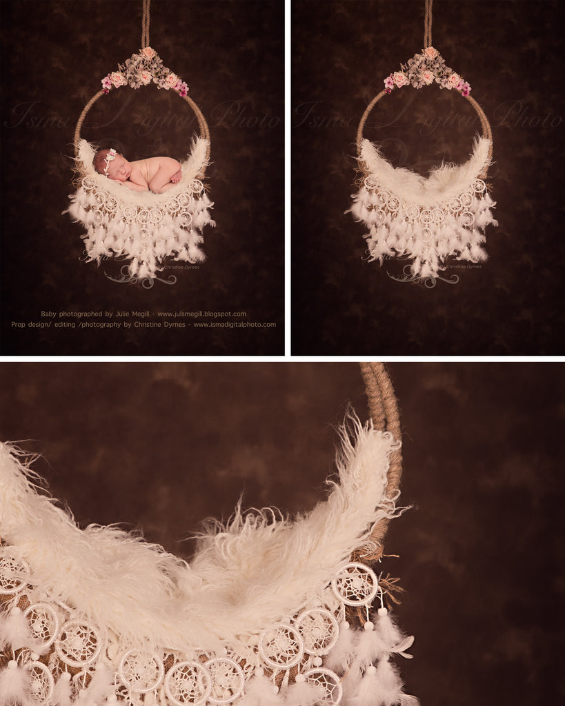 Newborn hanging circle design with flower and feather /DarkBackground - Digital photography backdrop /props for newborn photography - psd with layers