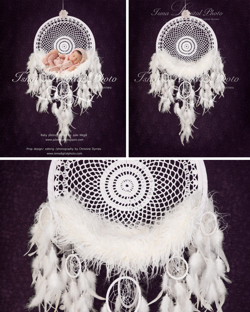 Dream Catcher with purple background - Beautiful Digital backdrop Newborn Photography Prop download - psd with Layers