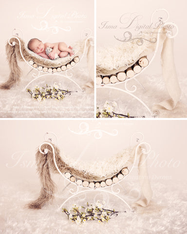 Iron Bed Chair With Flowe And Wooden Sticks - Beautiful Digital background backdrops Newborn Photography Props download