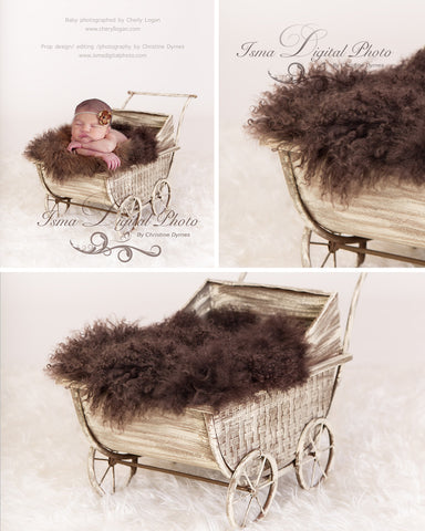 Vintage Stroller With Brown Furry Blanket 3 - Beautiful Digital background Newborn Photography Props download