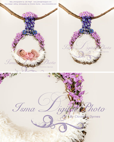 Flowers Garland Baby Swing  - Beautiful Digital background Newborn Photography Prop download