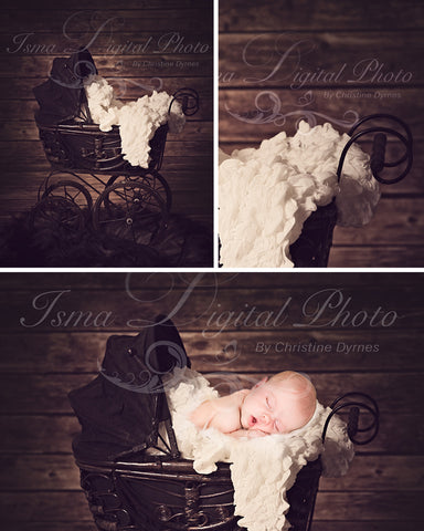 Antique Baby Carriage with dark wood background - Digital background Newborn Photography Prop download