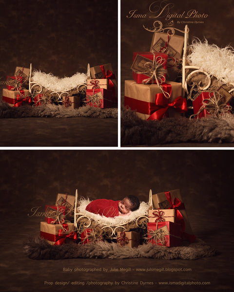 Christmas iron bed gifts - Digital backdrop /background - psd with layers