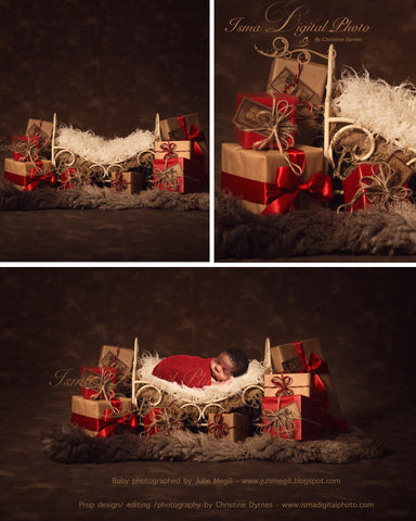 Christmas Iron Bed Gifts With Dark Background 2 - Beautiful Digital background Newborn Photography Prop download - psd with Layers