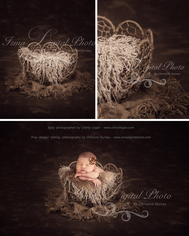 Twine Circles Bowl With Dark Background  - Beautiful Digital background backdrop Newborn Photography Prop download