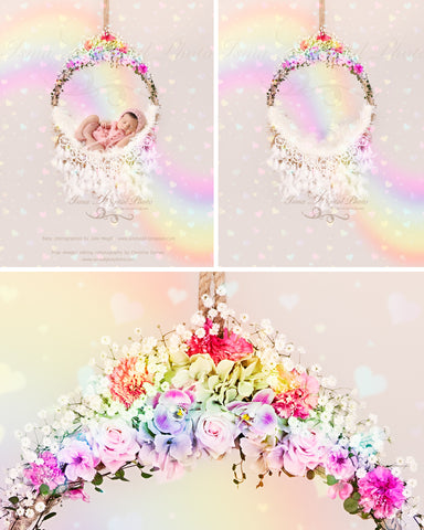 Rainbow Newborn Hanging Circle Design With Flower And Feather - Digital Photography Backdrop /Props for Newborn Photography - psd with Layers