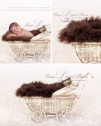 Vintage Stroller With Brown Furry Blanket 2 - Beautiful Digital background Newborn Photography Props download