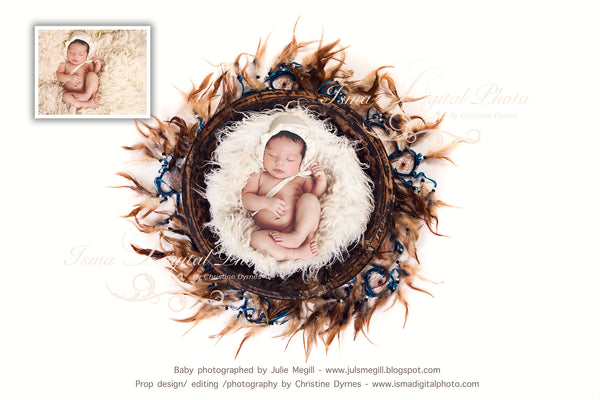 Handmade Wooden Bowl With White Background 3 - Beautiful Digital Newborn Photography Props download  - psd with Layers