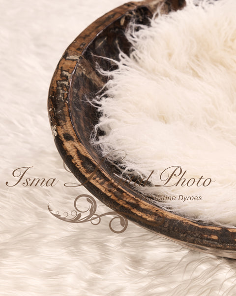 Handmade wooden bowl with white carpet - Digital backdrop /background - psd with layers