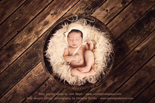 Handmade Wooden Bowl With Wooden Background 2 - Beautiful Digital Newborn Photography Props download  - psd with Layers