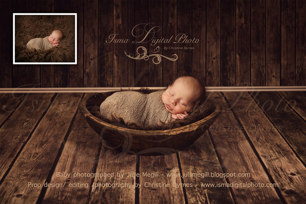 Handmade wooden bowl - Digital backdrop /background - psd with layers