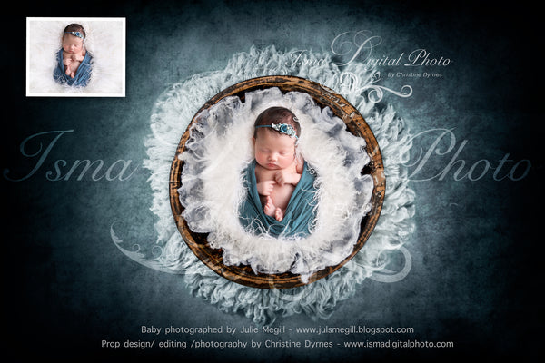 Handmade wooden bowl with wool - Newborn digital backdrop /background - psd with layers