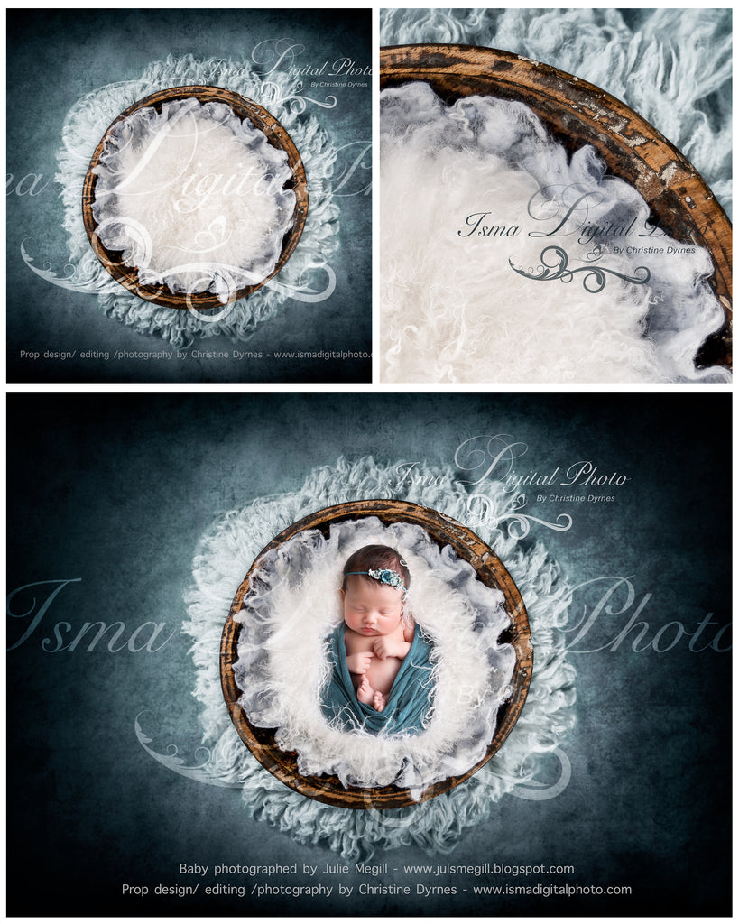 Handmade wooden bowl with wool - Newborn digital backdrop /background