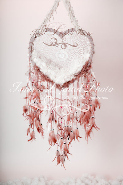 Heart shaped dream catcher - Digital backdrop /background - psd with layers