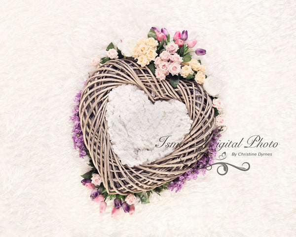 Heart With Flowers - Beautiful Digital background Newborn Photography Props download