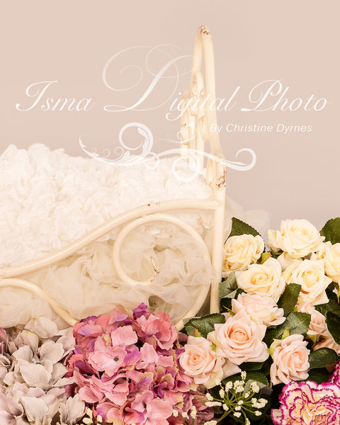 Iron Bed With Flowers Pink And Blue  - Beautiful Digital background Newborn Photography Prop download - psd with layers