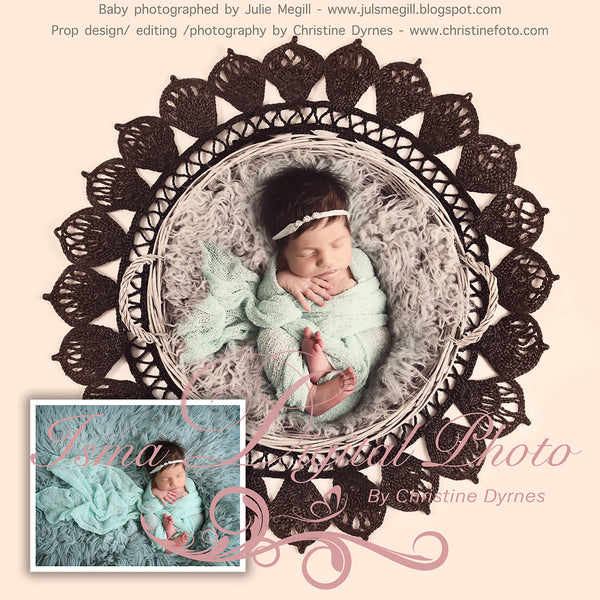 Basket - Beautiful Digital background backdrop Newborn Photography Prop download - Crocheted Blanket and Fur