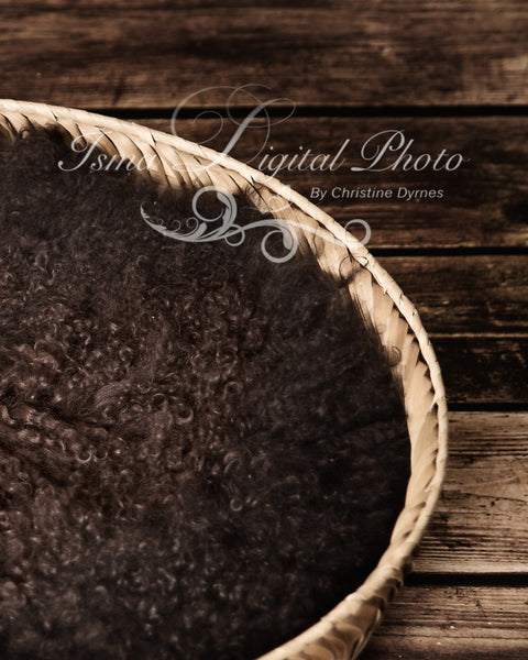 Basket Wooden Floor Whit Brown Wool 3 - Beautiful Digital background backdrop Newborn Photography Prop download