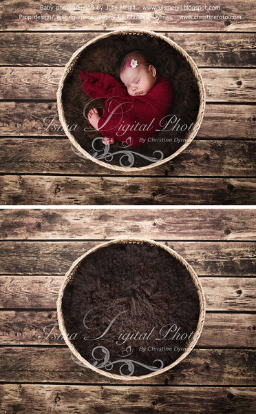 Basket Wooden Floor Whit Brown Wool - Beautiful Digital background backdrop Newborn Photography Prop download