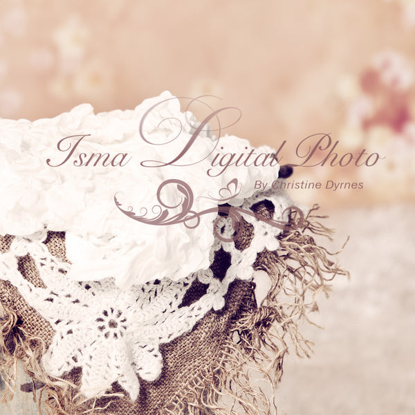 Bucket With Flowers Background  - Beautiful Digital Newborn Photography Props download