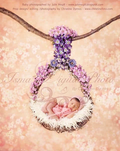 Flowers Garland Baby Swing  - Digital Newborn Photography Prop download, with flower background
