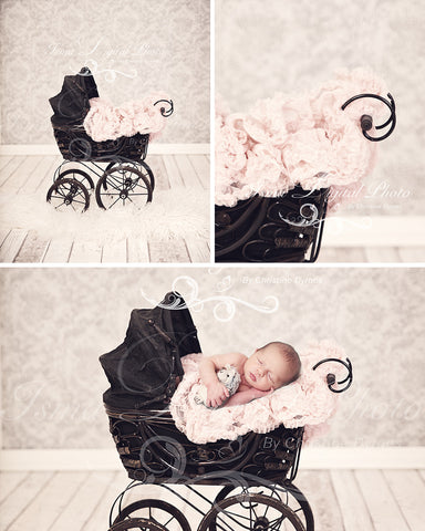 Antique Baby Carriage With Texture Background - Beautiful Digital background Newborn Photography Prop download