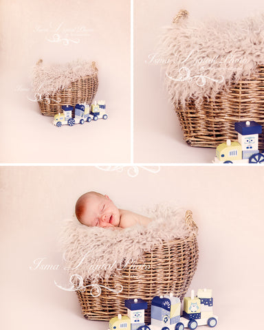 Basket And Train with texture - Beautiful Digital background backdrop Newborn Photography Prop download - Crocheted Blanket and Fur