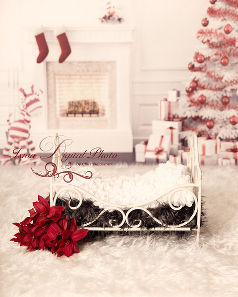 Christmas background with iron bed 2 - Digital backdrop /background