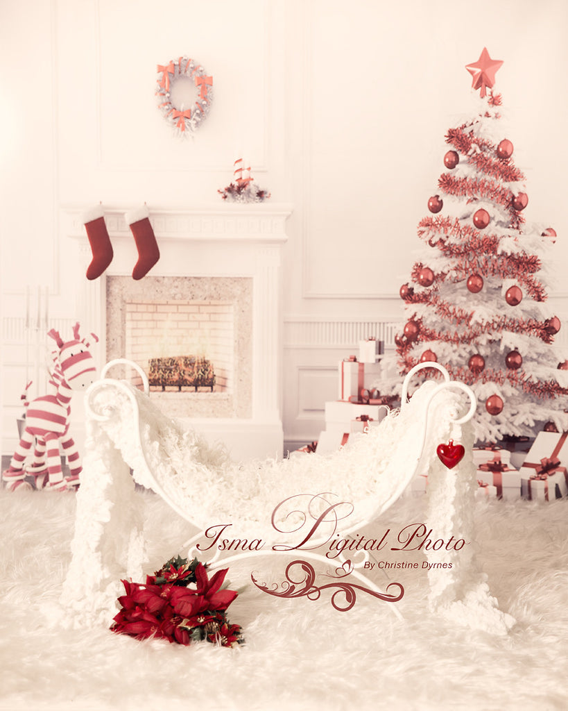 Christmas Background With Iron Bed Chair - Beautiful Digital ...
