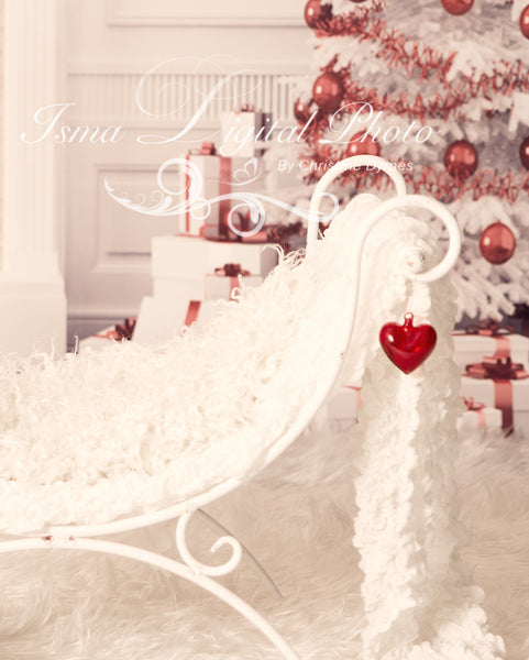 Christmas Background With Iron Bed Chair - Beautiful Digital background backdrop download