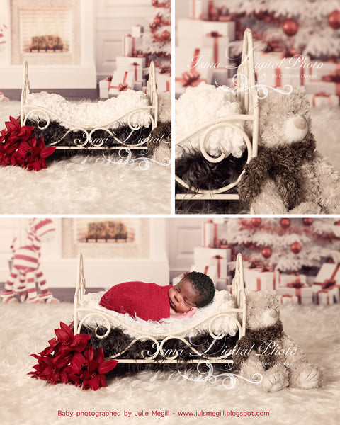 Christmas Background With Iron Bed - Beautiful Digital background backdrop download