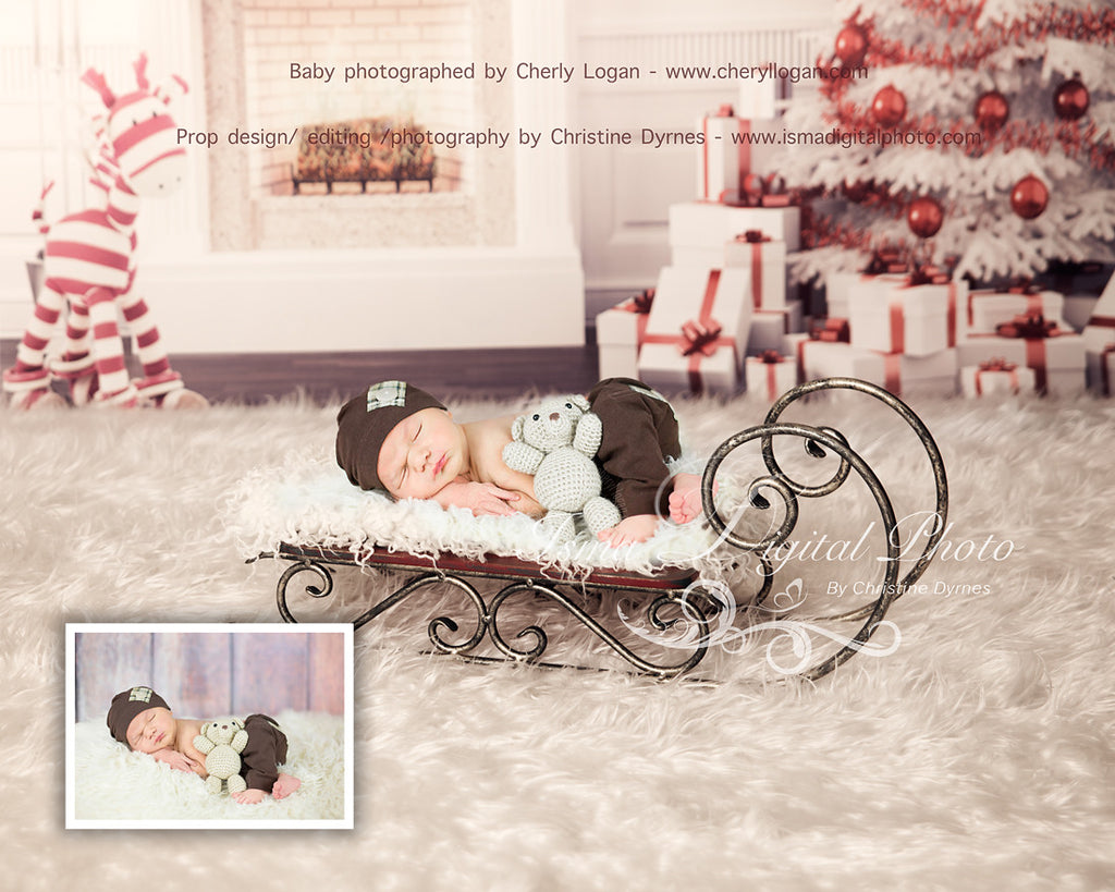 Christmas Background With Sleigh 2 - Beautiful Digital background backdrop download