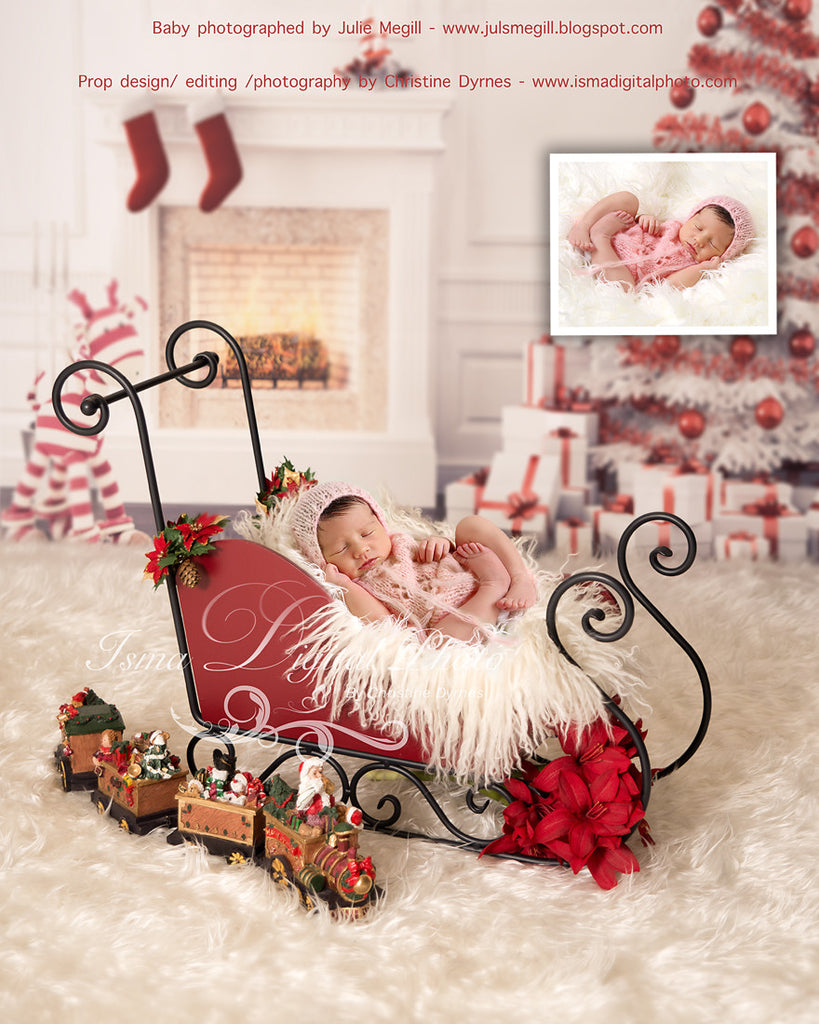 christmas background with sleigh beautiful digital background backdrop download