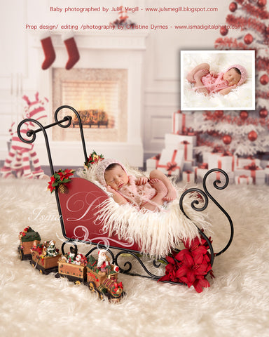 Christmas Background With Sleigh - Beautiful Digital background backdrop download