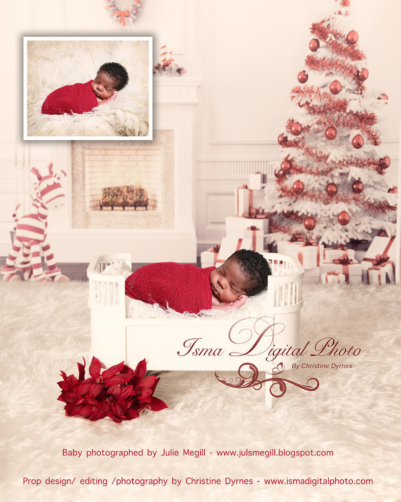 Christmas Background With White Bed - Beautiful Digital background backdrop download