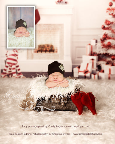 Christmas Background With Wooden Box - Beautiful Digital background backdrop download