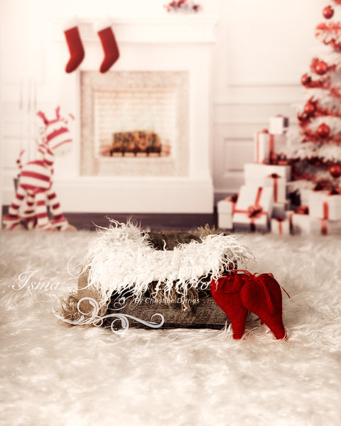 Christmas background with wooden box - Digital backdrop /background