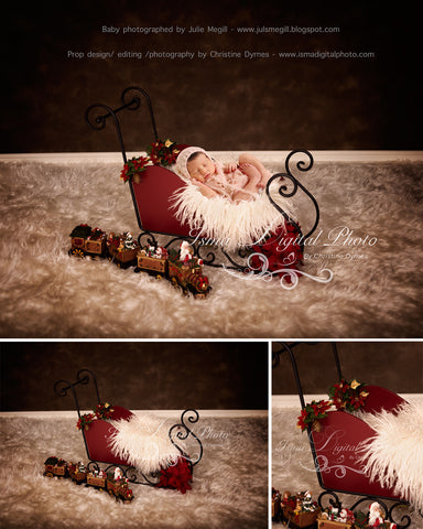 Christmas Sleigh With Dark Background - Beautiful Digital background backdrop download