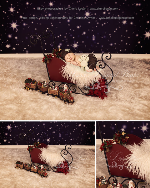 Christmas Sleigh With Star Background - Beautiful Digital background backdrop download