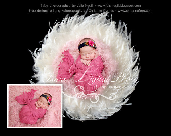 Feather Nest - Black background whit white feather and bright pink wool - Digital Newborn Photography Prop