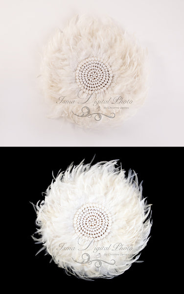 Package deal, 2 Feather nest, White and black babckground whit white feather and sea shells
