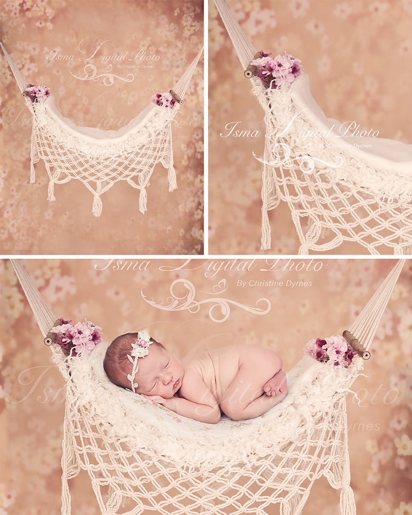Hammock With Flower Background - Beautiful Digital background Newborn Photography Prop download