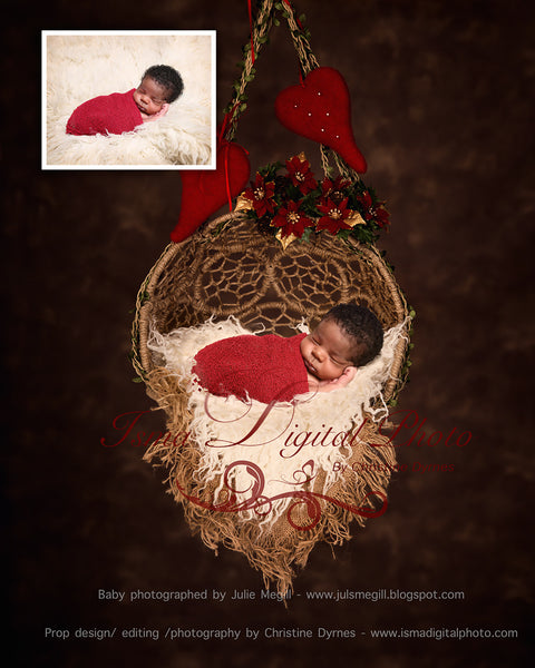 Package deal - Hanging Christmas Twine Circles Bowl - Beautiful Digital backdrop Newborn Prop download
