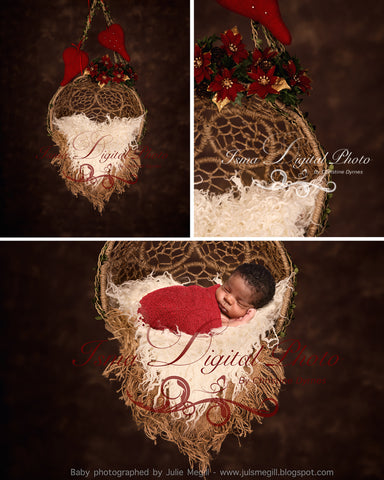 Hanging Christmas Twine Circles Bowl With Dark Background - Beautiful Digital background backdrop download