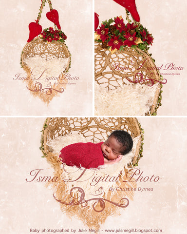 Hanging Christmas Twine Circles Bowl With Light Background - Beautiful Digital background backdrop download