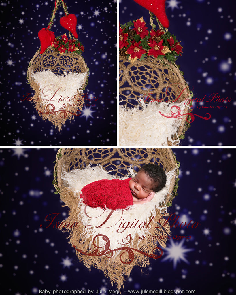 Hanging Christmas Twine Circles Bowl With Star Background - Beautiful Digital background backdrop download
