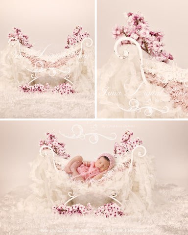 Iron Bed Chair with flower - Beautiful Digital background backdrops Newborn Photography Props download