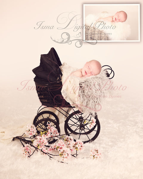 Antique Baby Carriage - Beautiful Digital background Newborn Photography Prop download