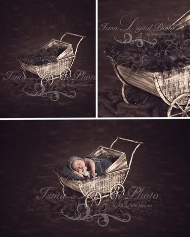 Stroller With Dark Bakcground - Beautiful Digital background Newborn Photography Props download